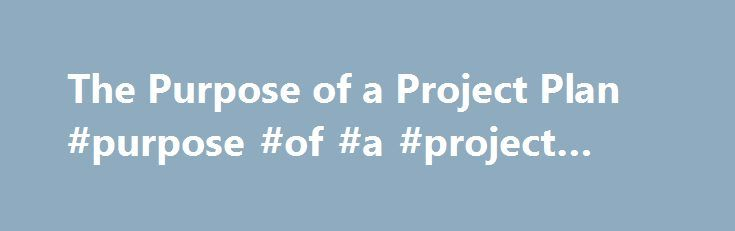 The Purpose of a Project Plan #purpose #of #a #project #plan http - project plan