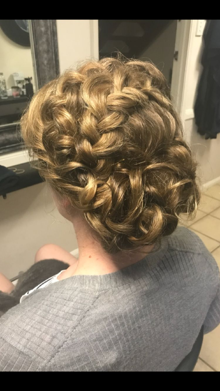 Coronet braid with vintage inspired curly bun | Formal event hair, Hair makeup, Hair styles