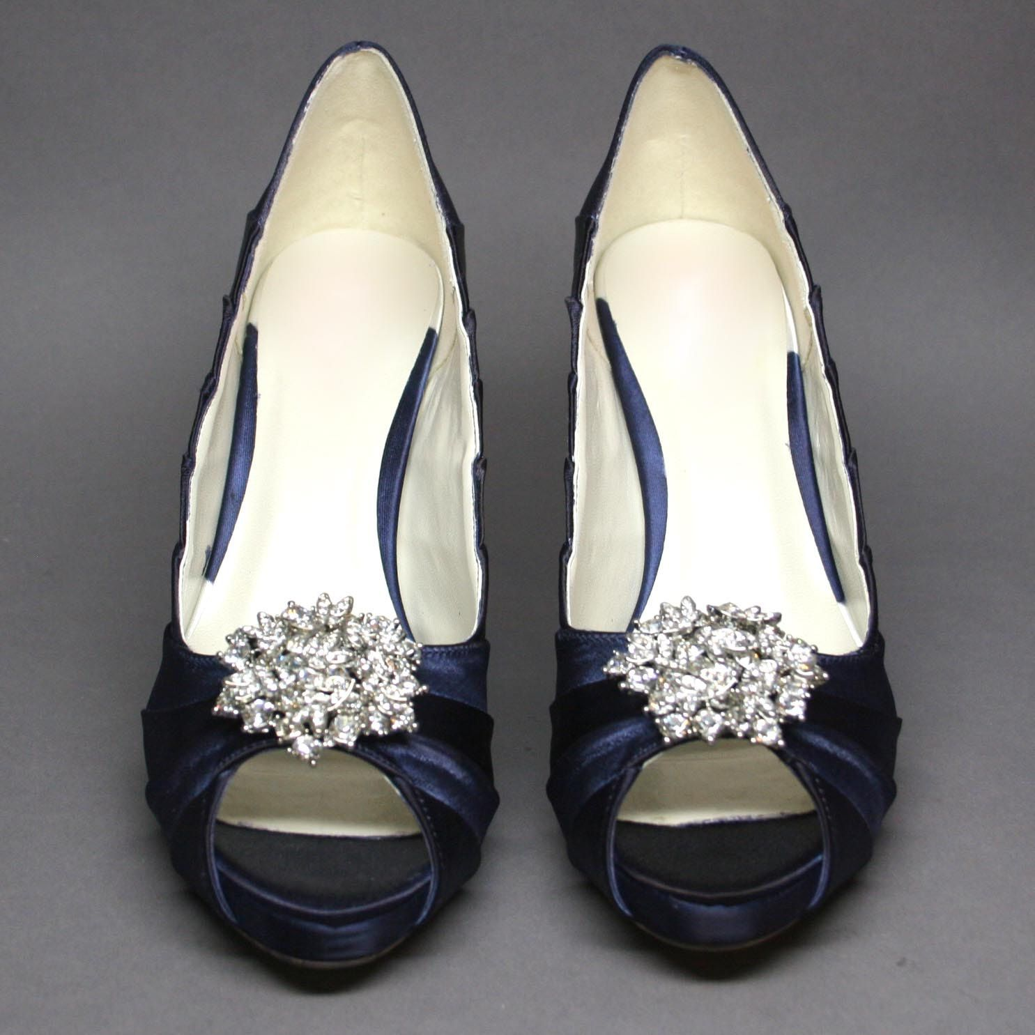 Custom Wedding Shoes Navy Blue Peeptoes With Silver Rhinestone Adornment 16500 Via
