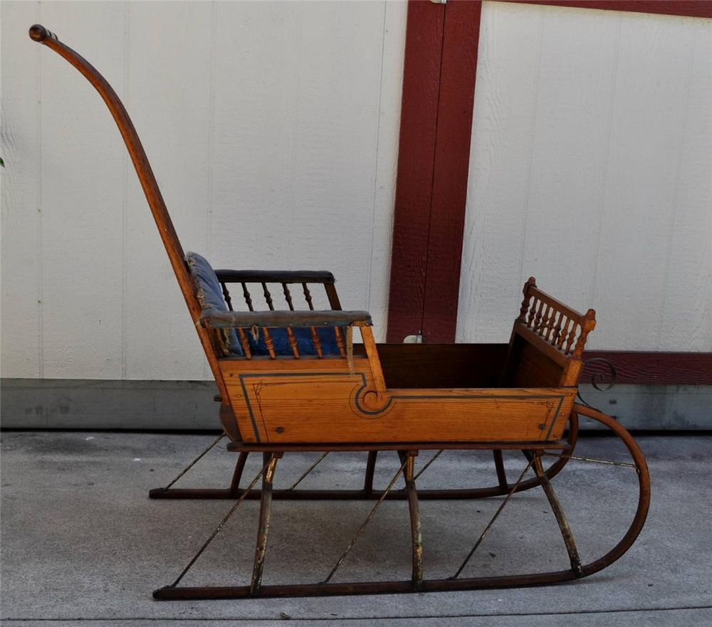 Old Baby Buggies Ebay Antique Victorian Baby Sleigh Or Push Sled All Original