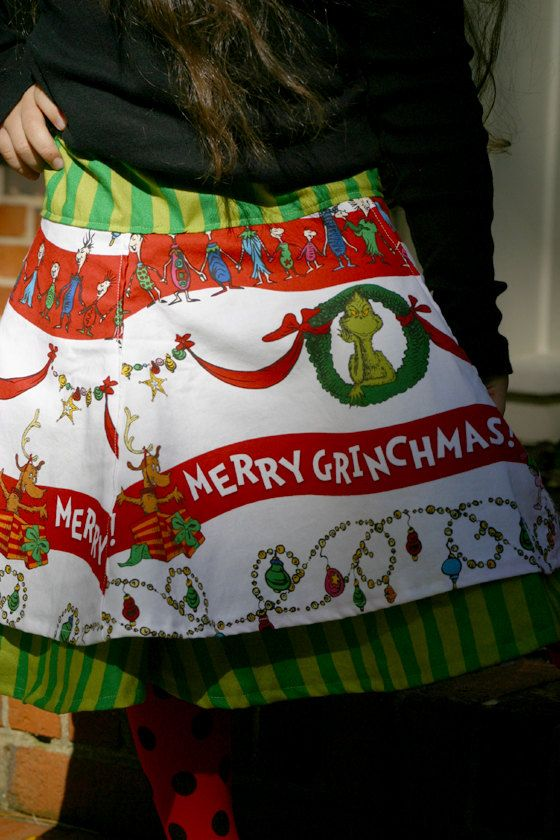 Grinch Skirt Girls Christmas Skirt Grinch Christmas by SewShellz, $35.00