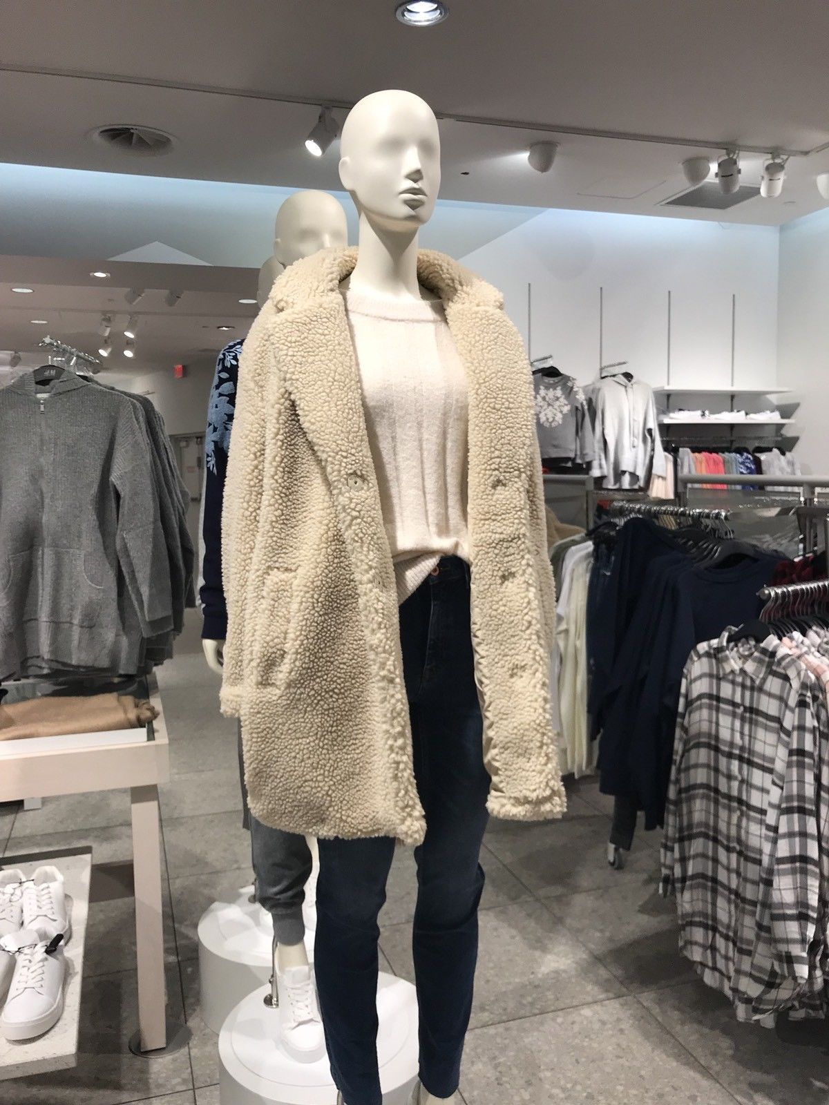 wholesale competitive price buy online H&M NWT Conscious Trend Teddy Short Pile Mid Length Coat Jacket ...
