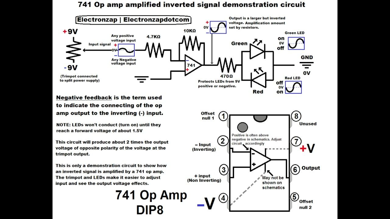 diagram only no audio of 741 op amp amplified inverted signal demonstrat  [ 1280 x 720 Pixel ]