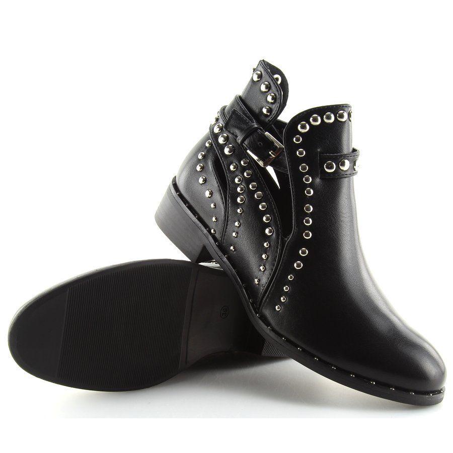 0817e7d5e8d03 damskie botki cut obuwiedamskie out z czarne ćwiekami Botki qAd1WROnq