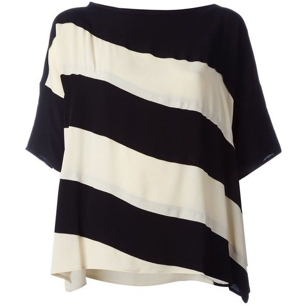 7353fb19124 8pm Striped Oversize T-Shirt ( 233) ❤ liked on Polyvore featuring tops