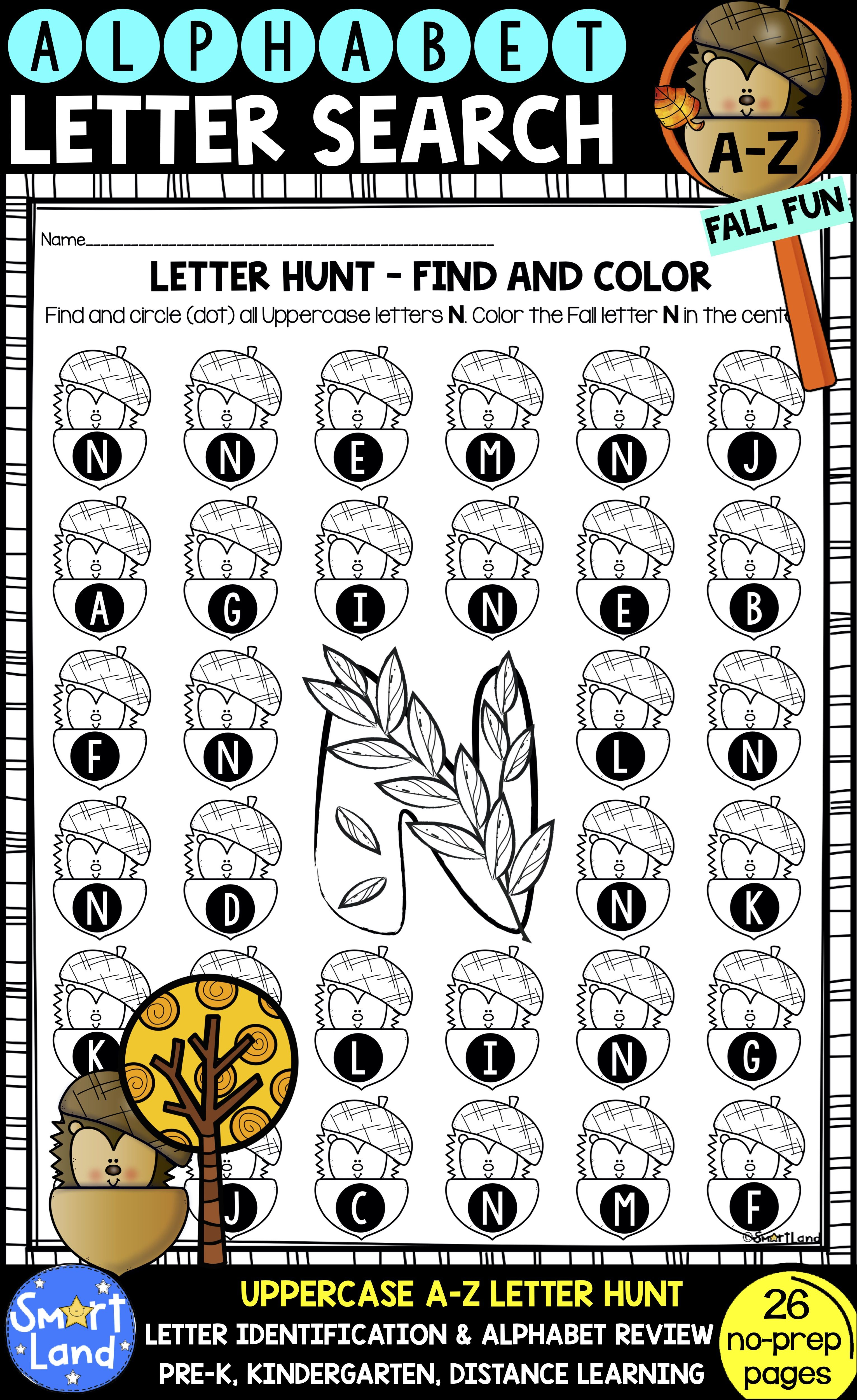 Alphabet Practice Worksheets Letter Search Fall Fun In