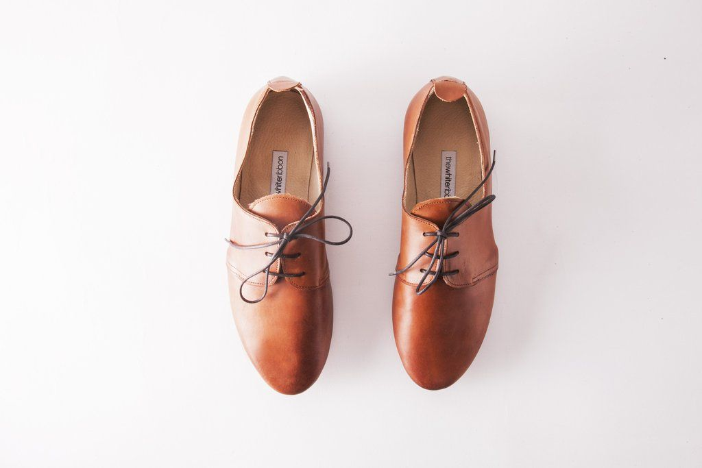 Cognac Brown Leather Oxford Shoes, handmade by thewhiteribbon