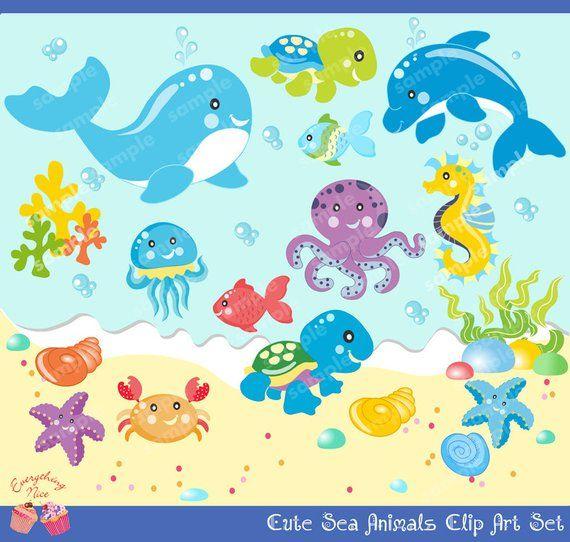 Ocean baby. Cute little sea animals