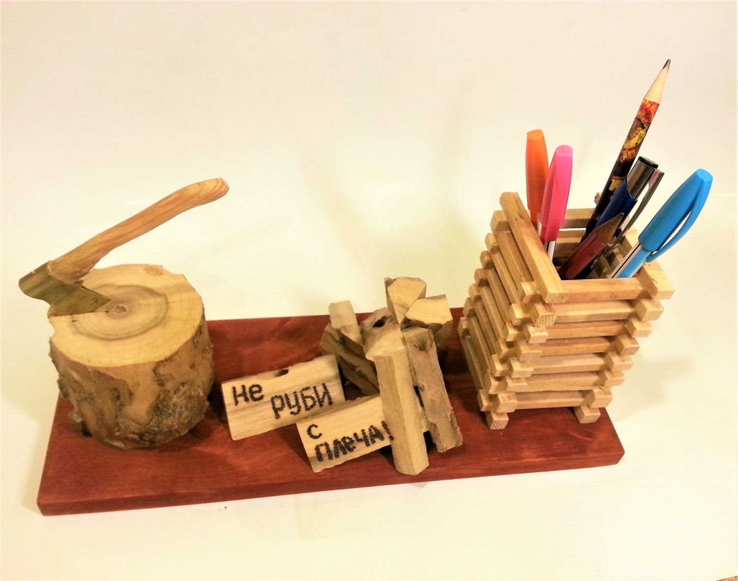 Wooden Pencil Holder Pen Vase Desktop Valet Office Organizer Wood Handmade  Table Storage Unique Organization Desk