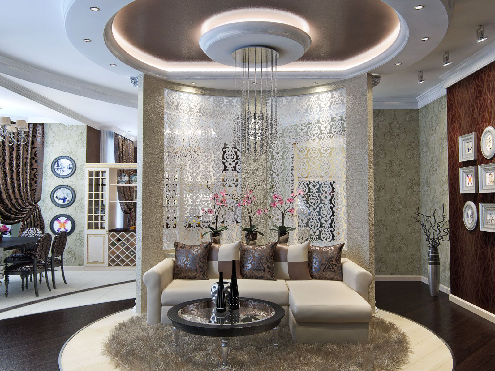 Modern Living Room Dining Room Combo With False Ceiling Design