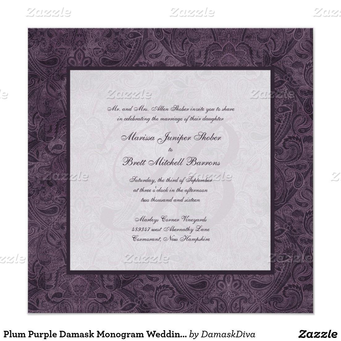 Plum Purple Damask Monogram Wedding Invitations | Damasks, Wedding ...