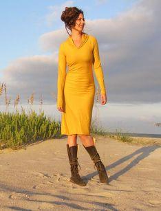 Stretchy Hooded Below Knee Dress