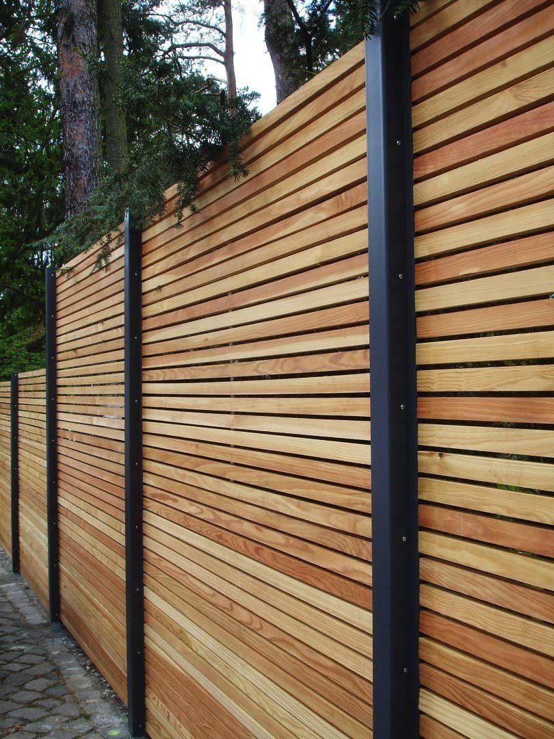 Sichtschutzzaun Holz Metall Gunstig Larche Hohe Grau Weiss Aus Holz Metall Au 1000 In 2020 Fence Design Wood Fence Design Modern Fence Design