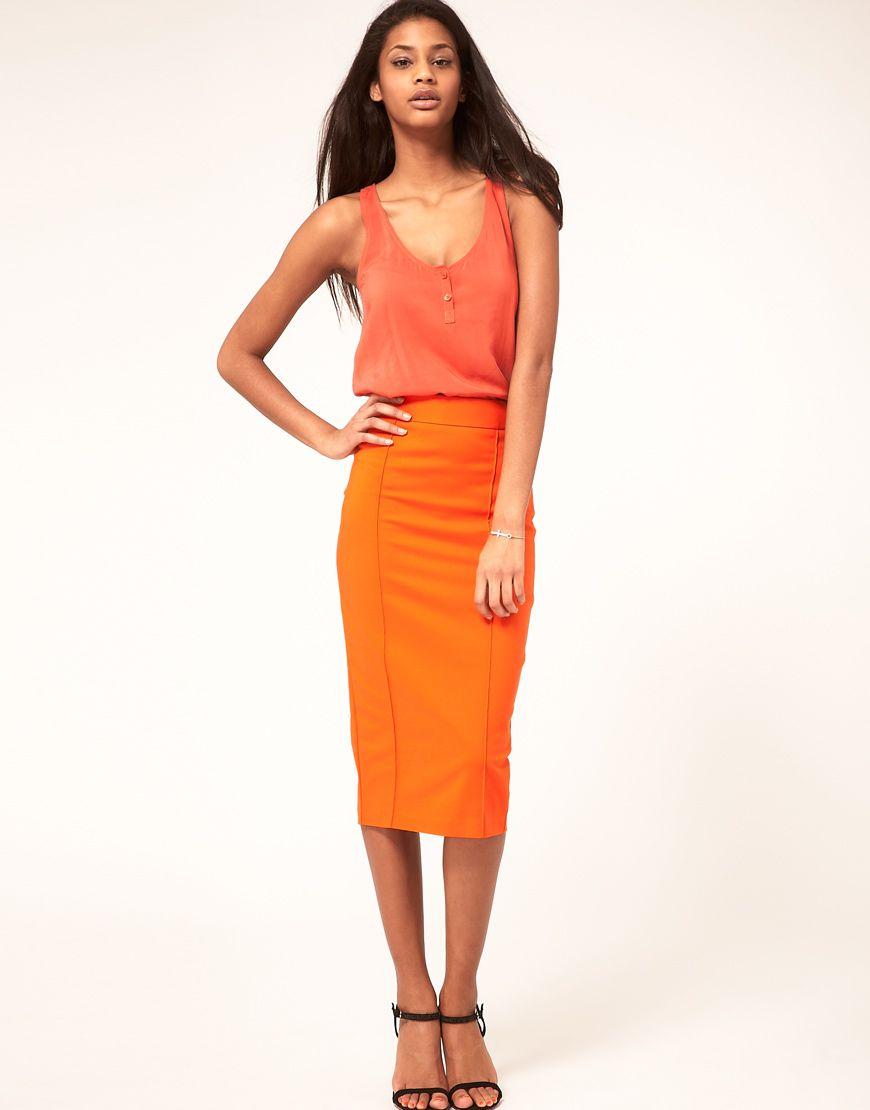 pencil skirt ORANGE. #fashion #skirt