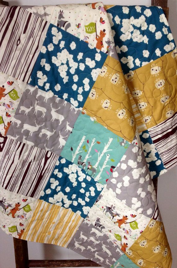 Baby Quilt Organic Vintage Rustic Yay Day Birch Fabric