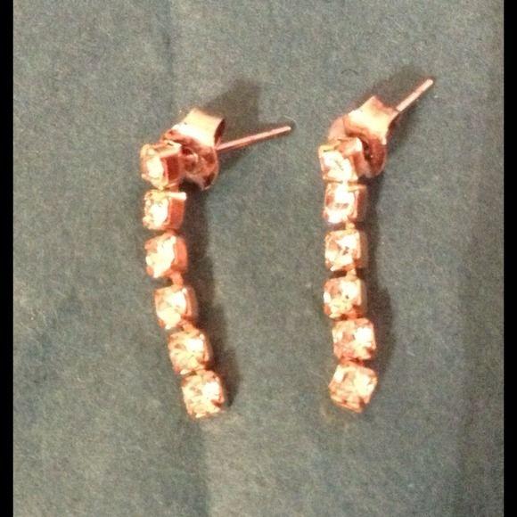 Rhinestone Earrings Sparkly rhinestone dangle earrings for pierced ears. Jewelry Earrings