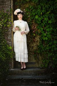 Early-1900s-Edwardian-Tea-Wedding-Garden-Party-Dress-Cream-Colored-Lace