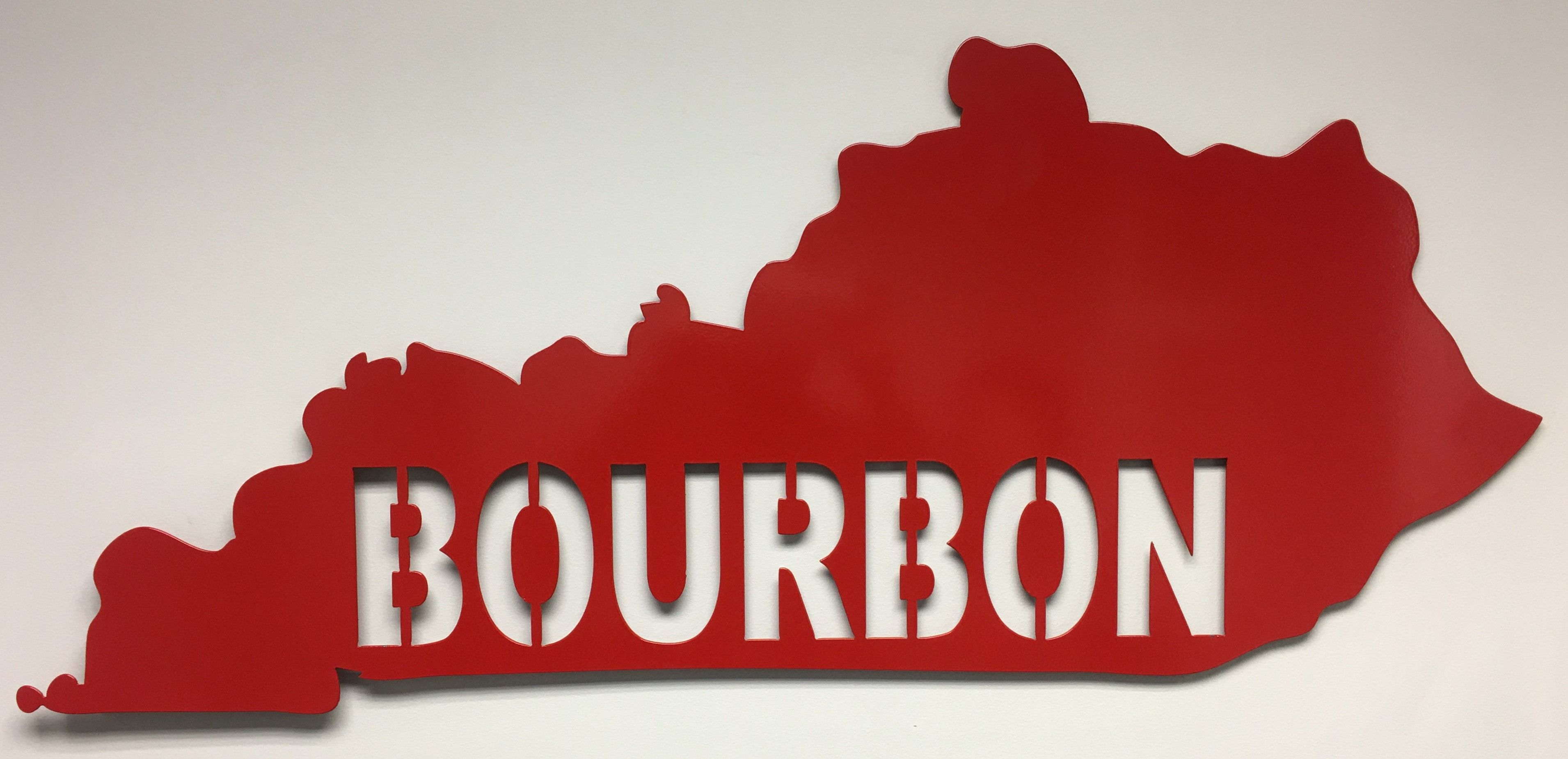 State of kentucky with bourbon cutout this large