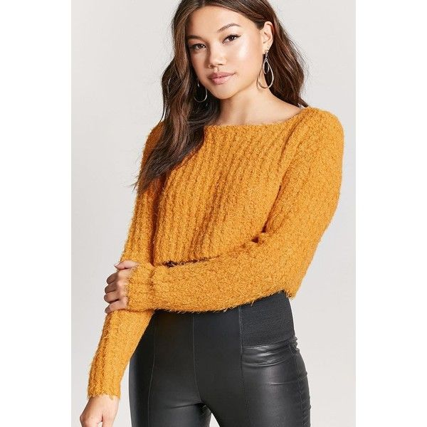 9f9ed22c982 Forever21 Fuzzy Boucle Knit Sweater ($23) ❤ liked on Polyvore featuring tops,  sweaters, mustard, long-sleeve crop tops, forever 21 sweaters, ...