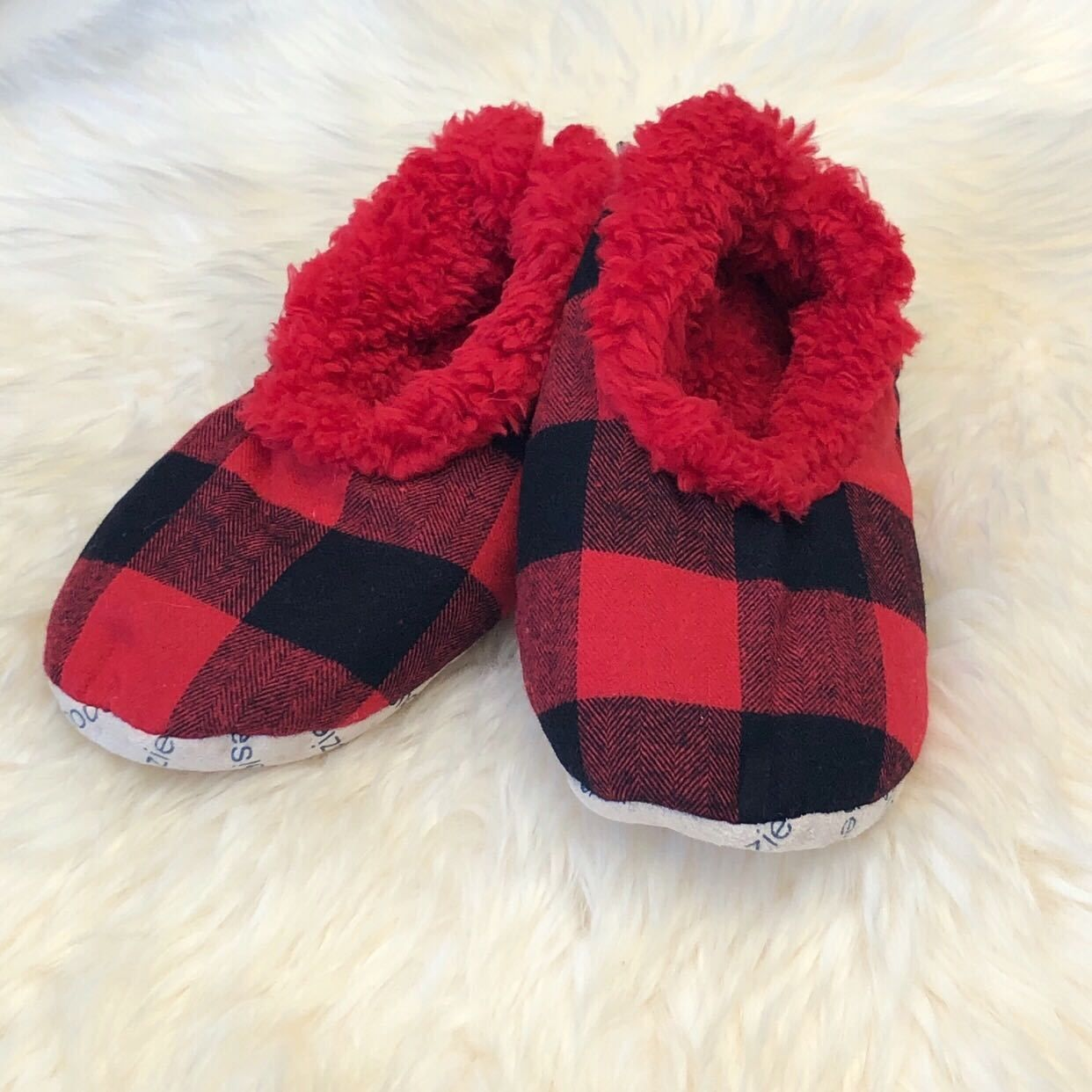 91ae221560d6 Kids Buffalo Check Snoozies! Slippers - Red in 2019