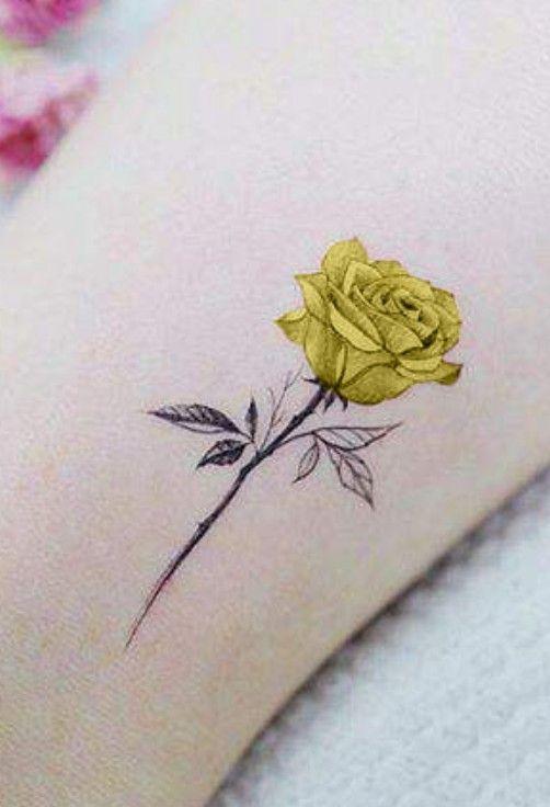 Pin By Aspen Shey On Tattoo Ideas Small Rose Tattoo Yellow Tattoo Yellow Flower Tattoos