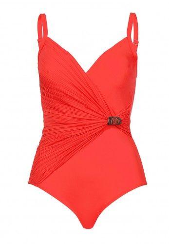Bezaubernder Badeanzug mit Wickel-Optik, Cup B, orange