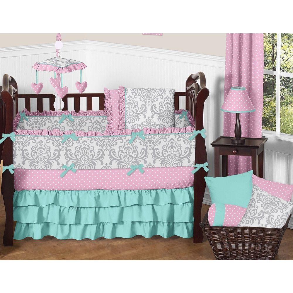 Sweet Jojo Designs Skylar Collection 9 Piece Crib Bedding Set Pink