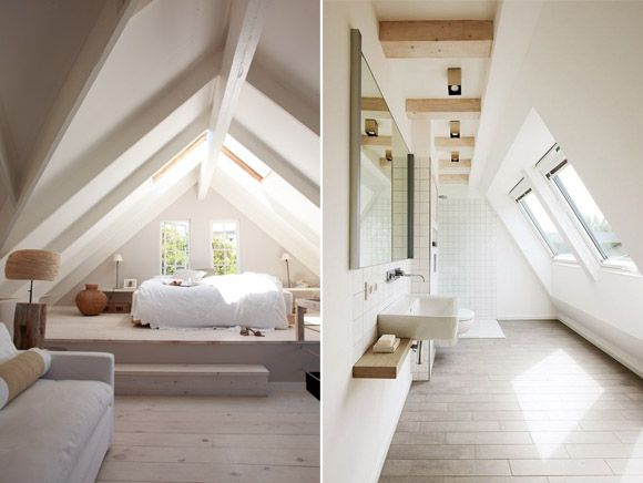 Buhardilla con dormitorio y ba o decorando pinterest - Habitaciones en buhardillas ...