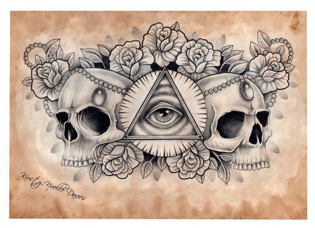 Illuminati And Skull Chest Tattoo Design (scanned) By