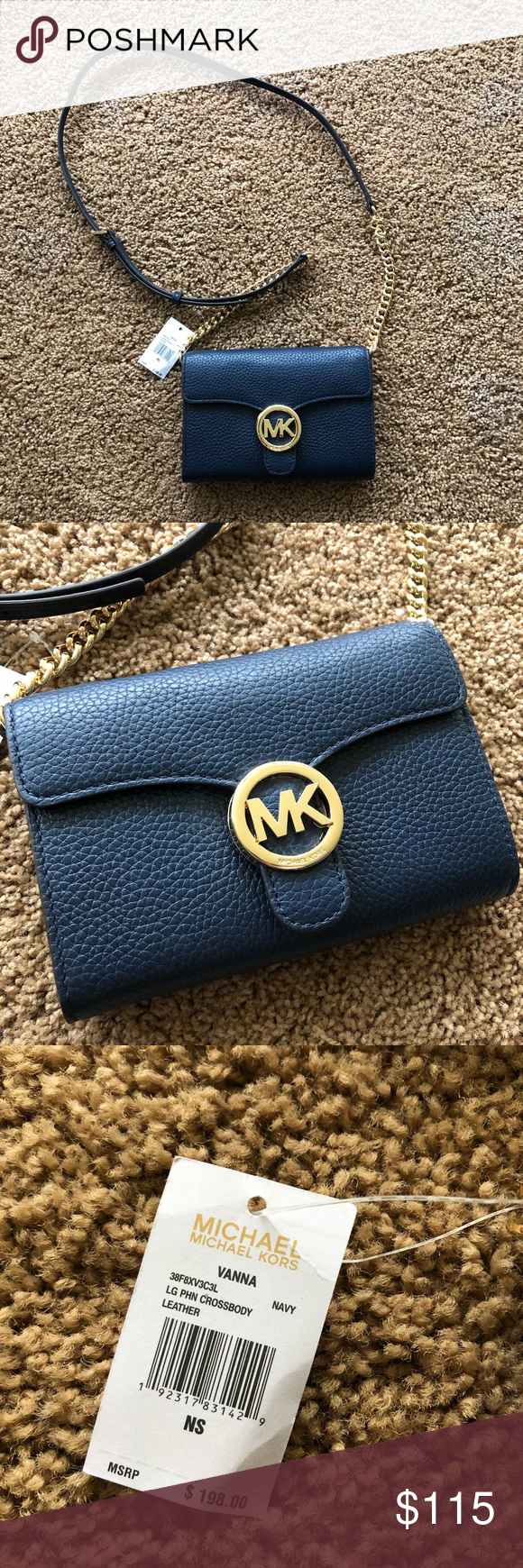 8e969444d646 Michael Kors Navy Crossbody Purse Brand new with tags & authentic!  Retails : $198