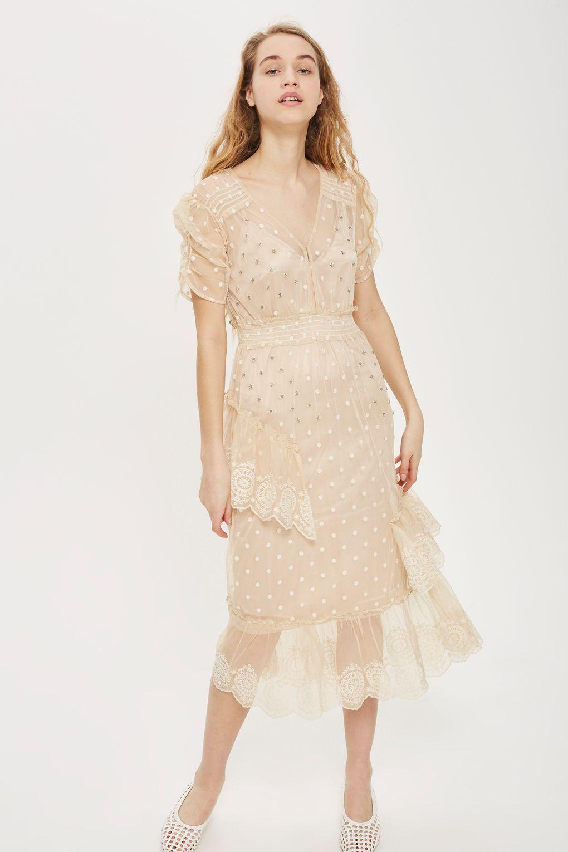 e37f362db146 Embellished Mesh Tier Midi Dress - Dresses - Clothing - Topshop USA  Occasion Wear, Summer