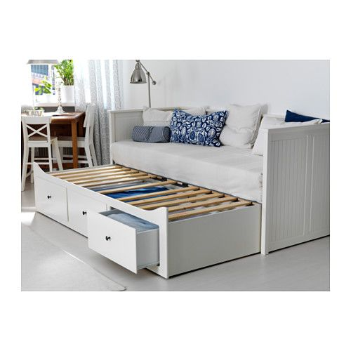 Très HEMNES Daybed frame with 3 drawers, white, Meistervik firm white  VQ41