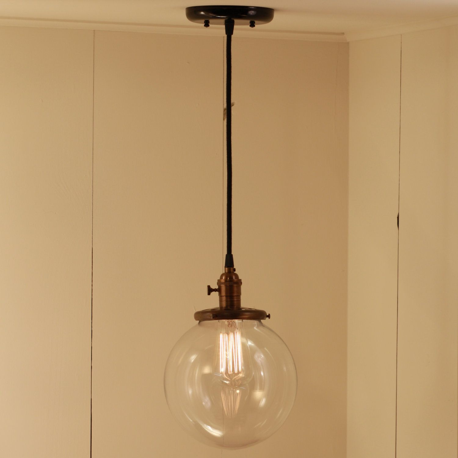 "Morinski Hanging Pendant Light Fixture With 8"" Glass Globe"