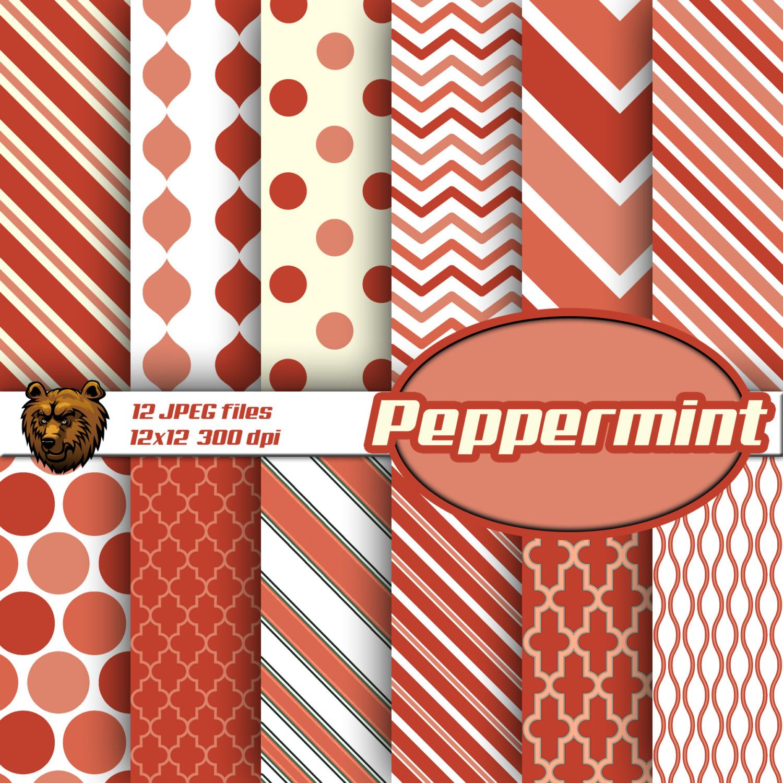 Peppermint Digital Paper Peppermint Scrapbook Paper