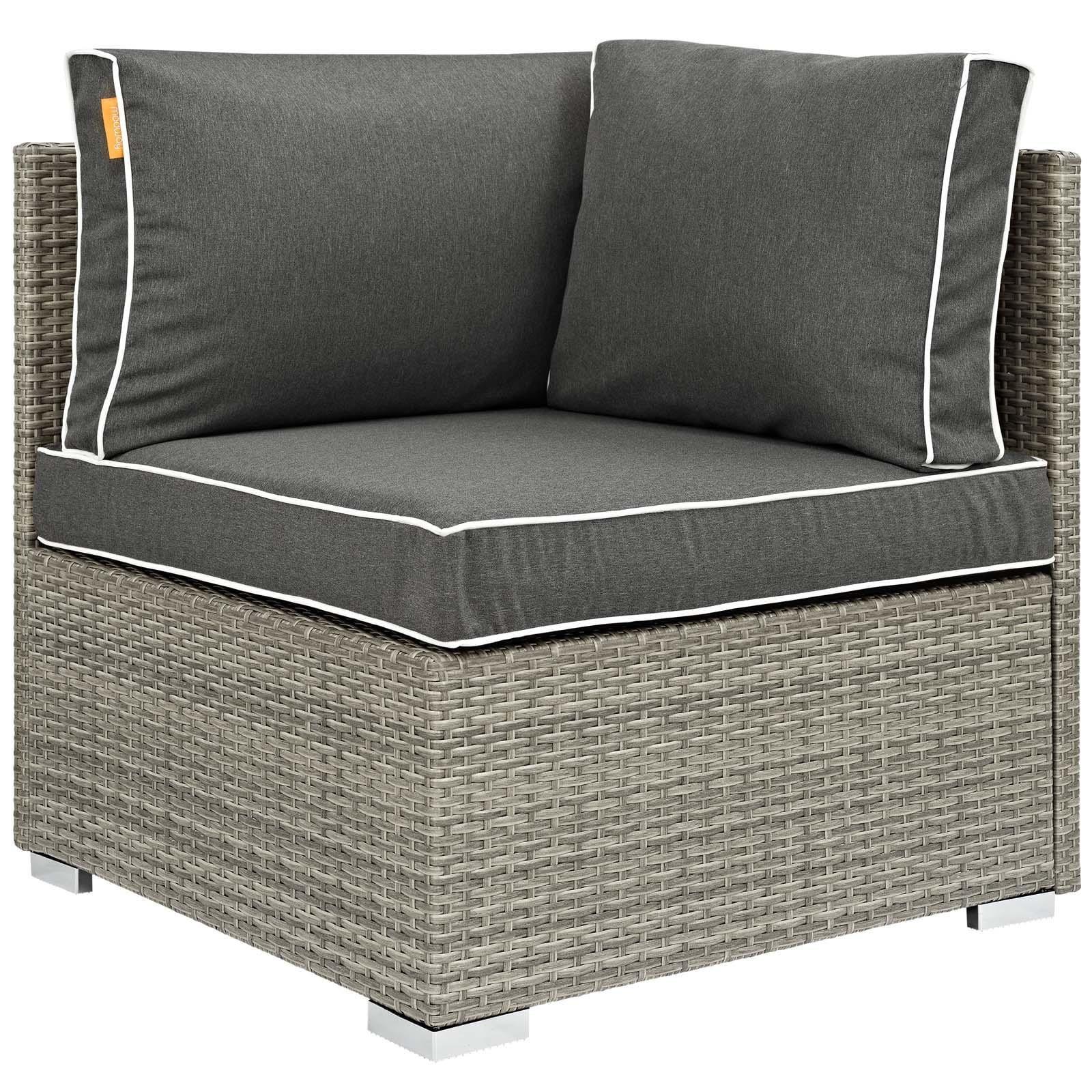 Modway Convene Wicker Rattan 5 Piece Outdoor Patio Furniture Set
