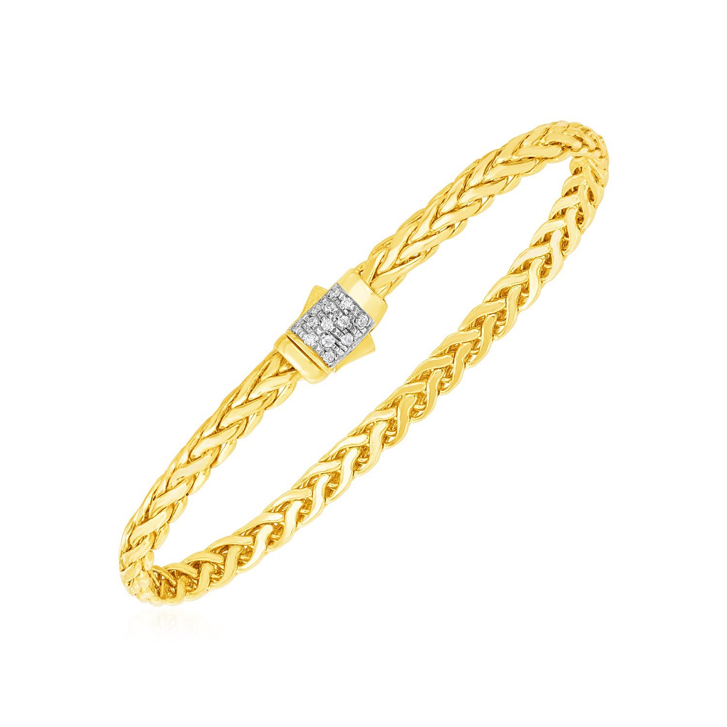 Woven rope bracelet with diamond accented rounded clasp in k