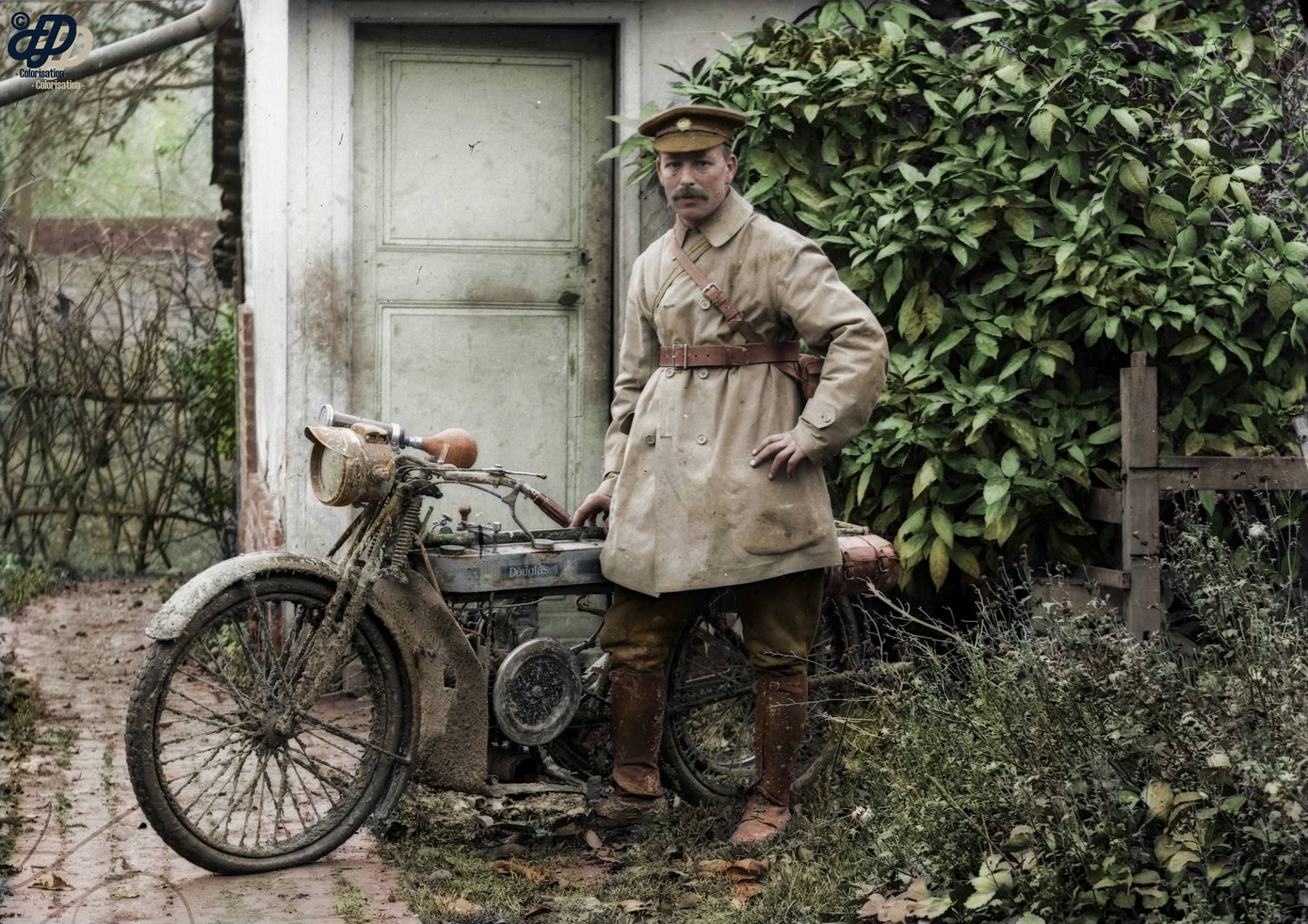 Army Service Corps Despatch Rider With His 1914 Douglas Motorcycle In A Photographers Garden In Warloy Baillon S Classic Motorcycles Riders Bike Vintage Bikes