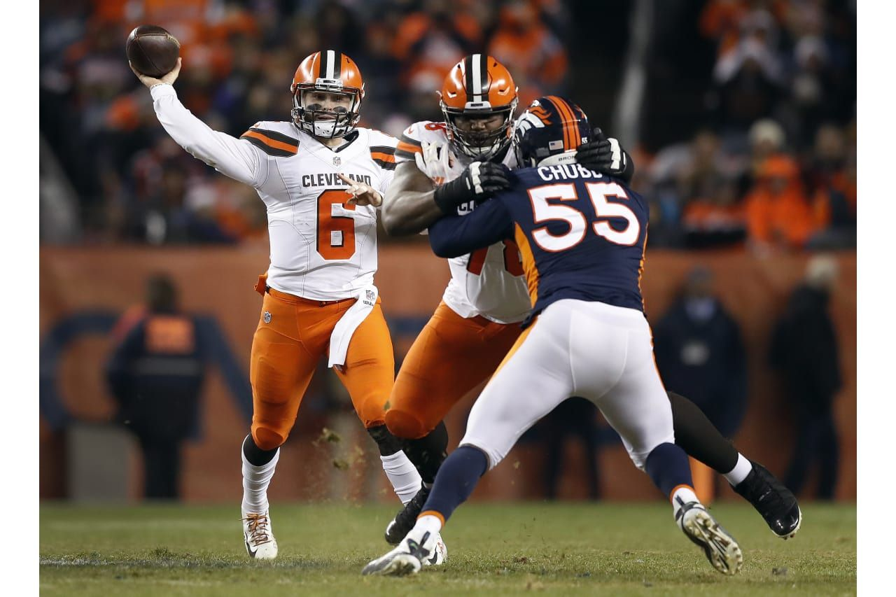 ed0db36f632 Cleveland Browns quarterback Baker Mayfield (6) throws as Denver Broncos  outside linebacker Bradley Chubb (55) pursues during the second half of an  NFL ...