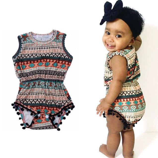 Pom Pom Romper Tribal Romper baby outfit rompers