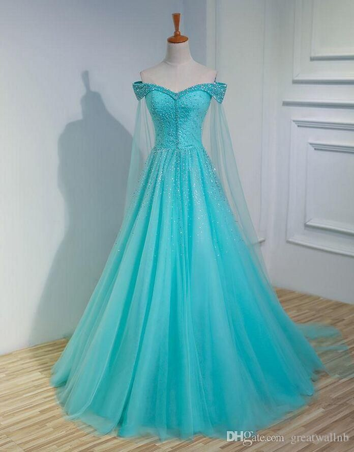 Gorgeous 100%real ice blue beading shawl fancy ball gown medieval ...