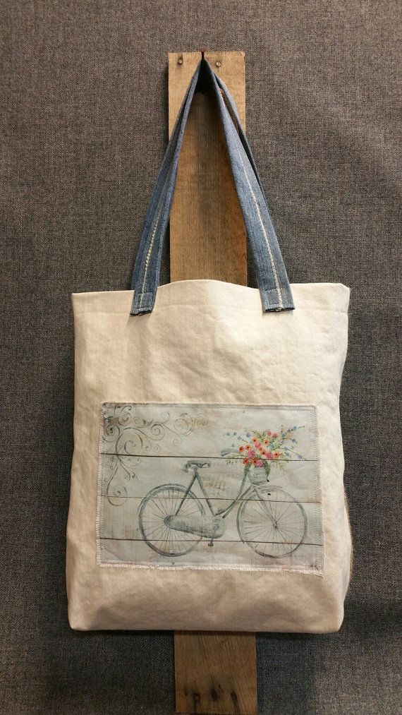 **Spring FARMHOUSE Collection** Repurposed burlap tote bag