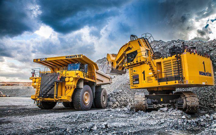 Komatsu 730E, dumper, excavator, Komatsu PC4000, quarry, special machinery, truck, Komatsu