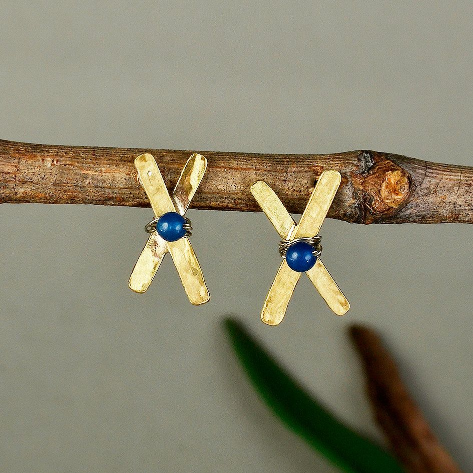 Blue jade studs, cross earrings, Gold studs, initial X earrings, minimalist studs, hammered monograms, custom letter design, jade jewelry by ColorLatinoJewelry on Etsy