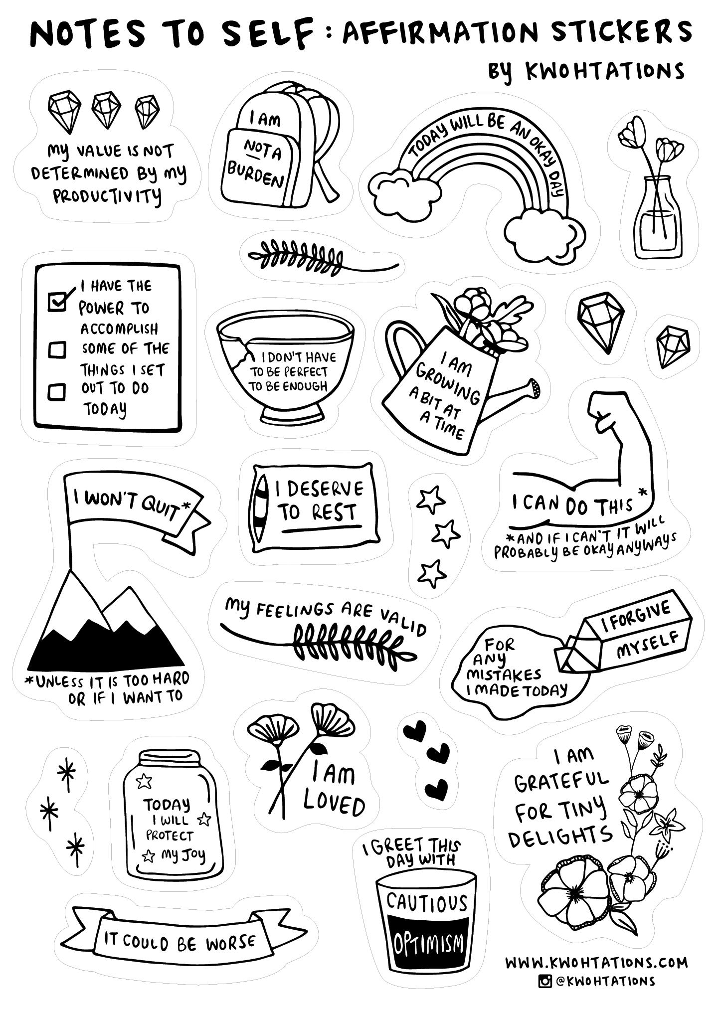 Affirmation Sticker Sheet Black And White Stickers Bullet Journal Stickers Black Stickers