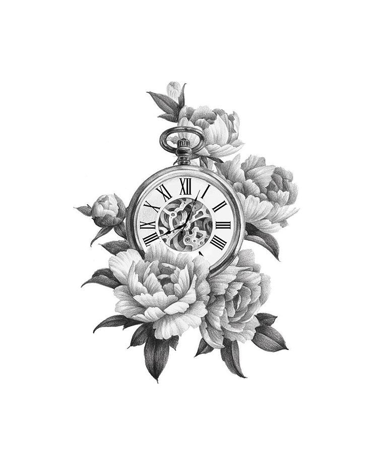 Instagram의 타투이스트 마사님 각각의 꽃과 시간 타투 마사타투 일러스트 Clock Tattoo Clock Tattoo Design Flower Hip Tattoos