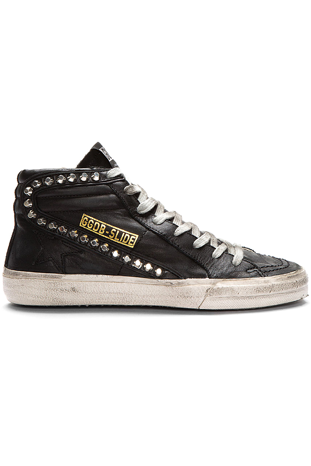 Golden Goose Slide Sneaker In 2020 Studded Sneakers Aesthetic Shoes Leather Sneakers