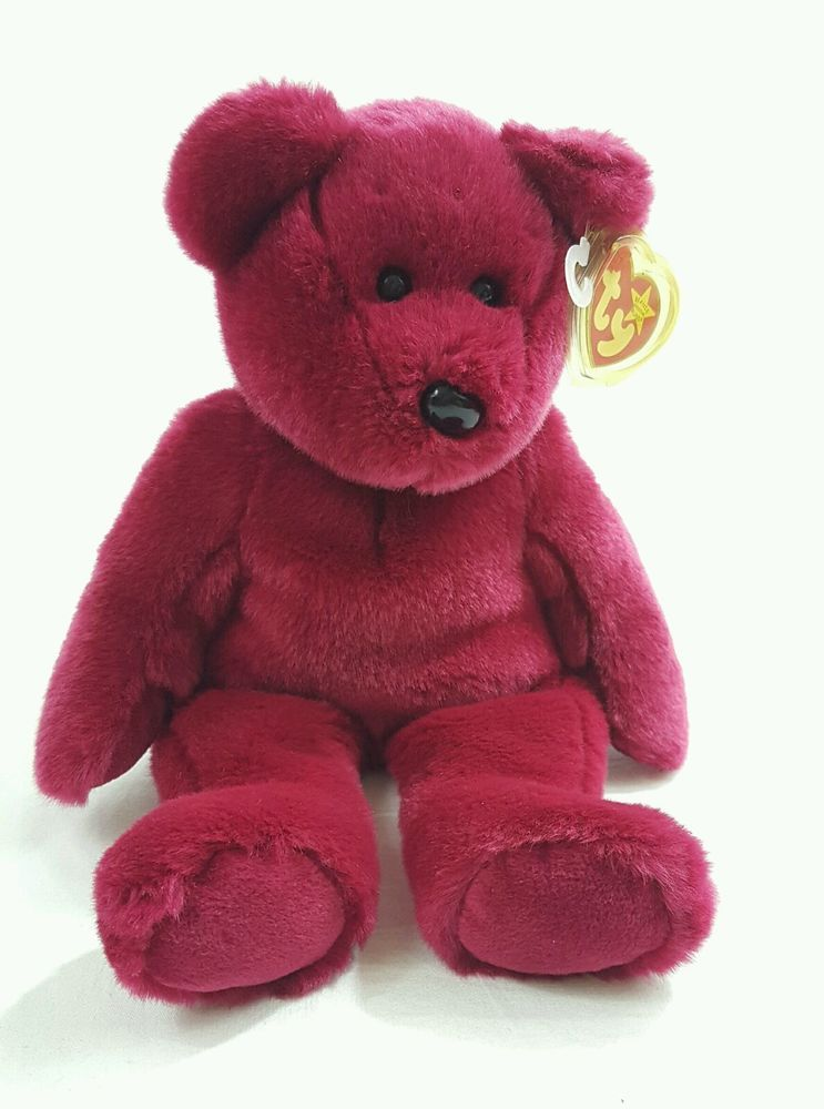 905392280f3 1998 Teddie the Beanie Baby Cranberry Burgundy TY Beanie Bear in Toys    Hobbies