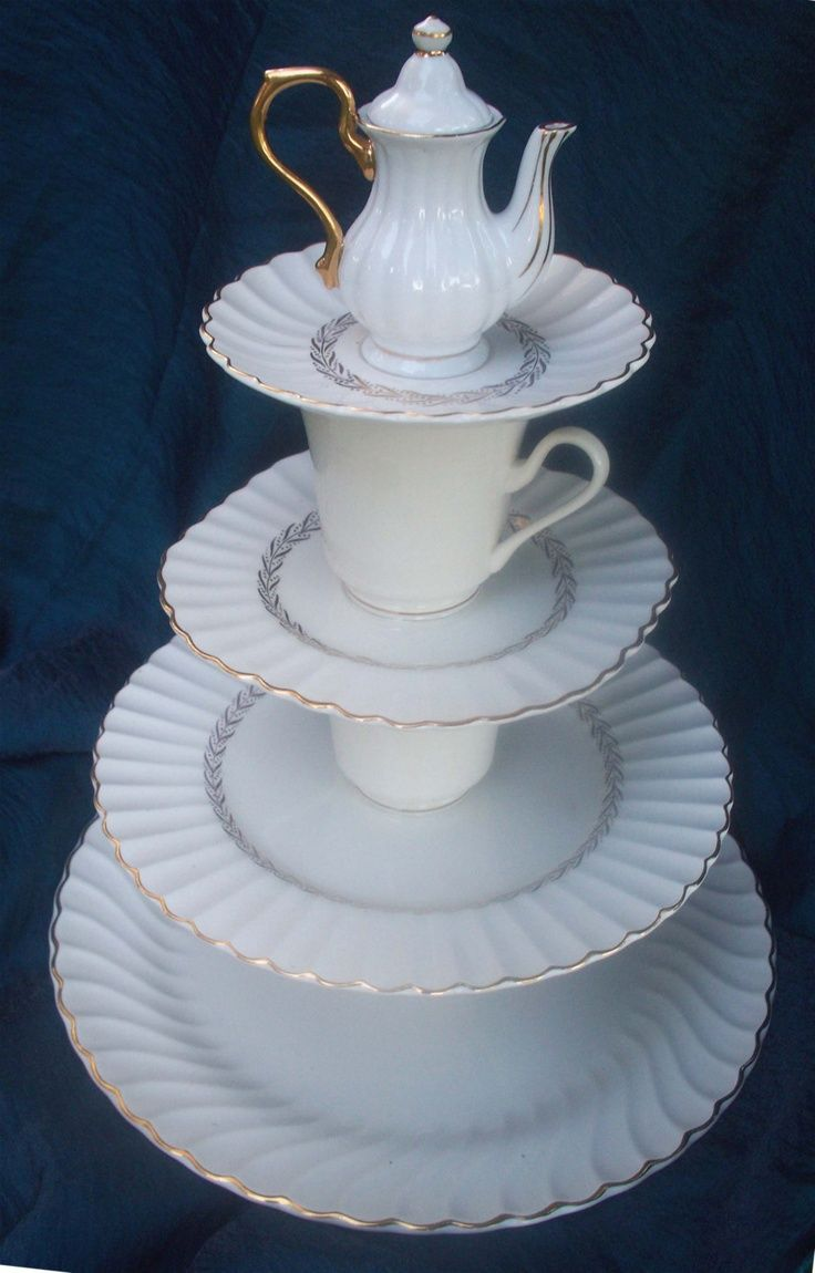 Totally Tea Time 4 Tier Tea Party Serving Tray From Vintage China One Of A Kind Etsy Diy Party Serving Trays Tiered Serving Trays Diy Serving Tray