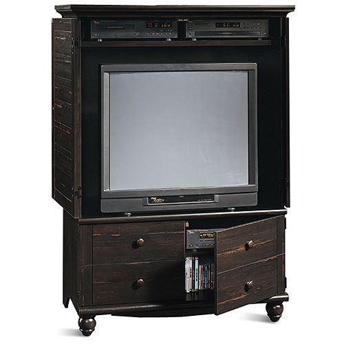 Beau Harbor View Entertainment Armoire In Antique Paint Finish