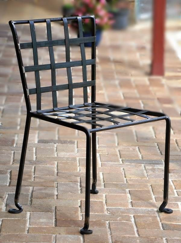 Wrought Iron Chair With Basket Weave And Feet With Flat Tapered